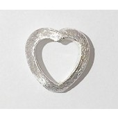 Sterling Silver Brushed Bead - Heart Shape