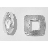 Sterling Silver Brushed Bead - Square Shape