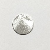Sterling Silver Brushed Disc 1 Hole - Round