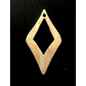 Sterling Silver Brush Rhombus Spacer Link 30 x 16 MM Gold Plated