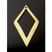 Sterling Silver Brush Rhombus Spacer Link 40 x 22 MM Gold Plated