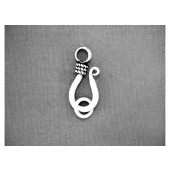 Sterling Silver J-Hook with Ring - 15 mm Oxidized