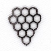 Sterling Silver Bee Hive 17 x 15 mm  Black Rhodium