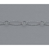 Sterling Silver Chain Dia. Cut Oval w/ Round Link 6.75x23.5mm