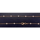 Sterling Silver Chain Diamond Cut Bead 1.2 mm with Moon Cut Bead 3 mm Finish With Clasp Rose + Silver