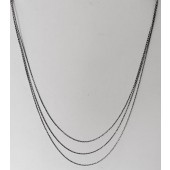 Sterling Silver 3 Line Chain Necklace Black / White 20 Inch