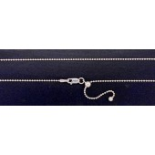 Sterling Silver Ball Chain 1.20 mm Adjustable Chain With Clasp 22""