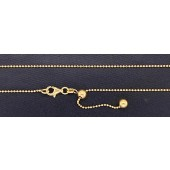 """Sterling Silver Diamond Cut Bead 1.2 mm Adjustable Chain 22"""" Gold Plated"""