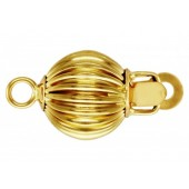 14 K Yellow Gold Currogated Ball Push Clasp