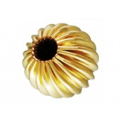 14 K Yellow Gold Corrugated Beads