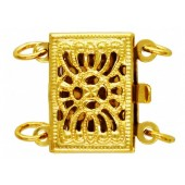 14 K Yellow Gold Filigree Box Clasp for 2 Strands
